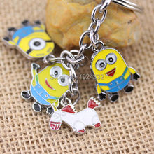 Hot 3D Cartoon Despicable Me Minions Keychains Four In One Keychain Yellow People Free Shipping For Fans(China (Mainland))