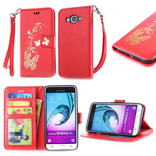 Buy Hot Butterfly Flower Pattern Leather Wallet CellPhone Soft Cover Samsung Galaxy J320 Gliding Pattern Galaxy J3 J320 2016 for $3.50 in AliExpress store