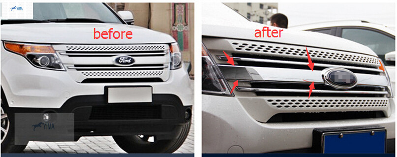 New For Ford Explorer 2011 - 2014 ABS Front Centre Grill Grille Frame Cover Trim 1pcs <br><br>Aliexpress