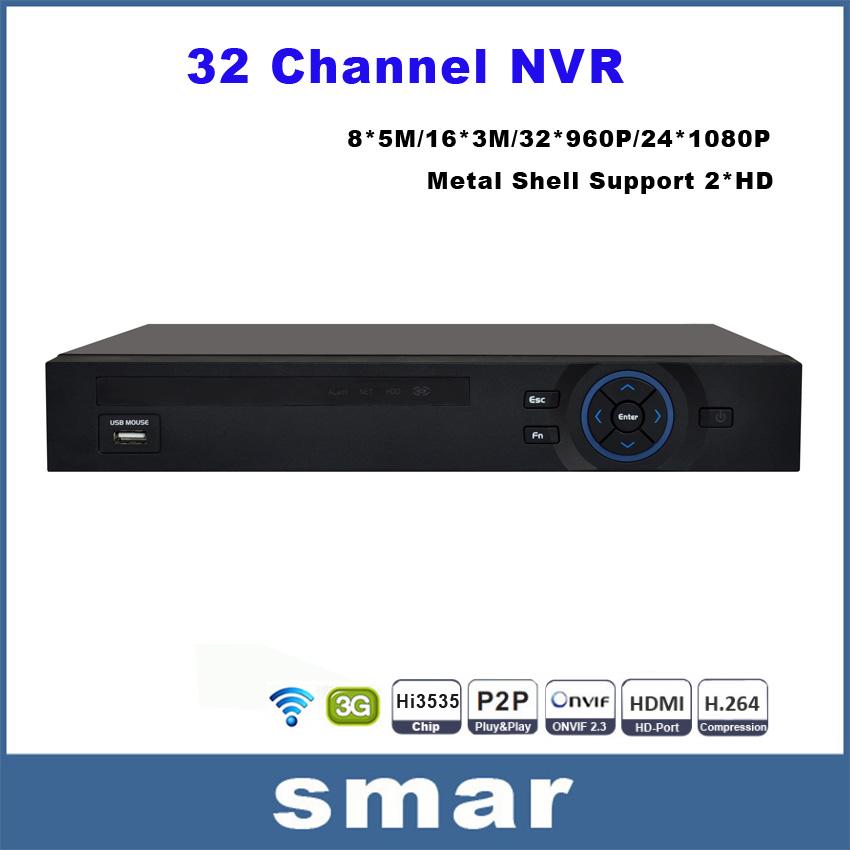 Ull Hd 24 Channel 1080p CcTV Nvr 32ch 960p Nvr 2 Sata Hdd Ports Xmeye Onvif P2p Hdmi Vga CcTV Video