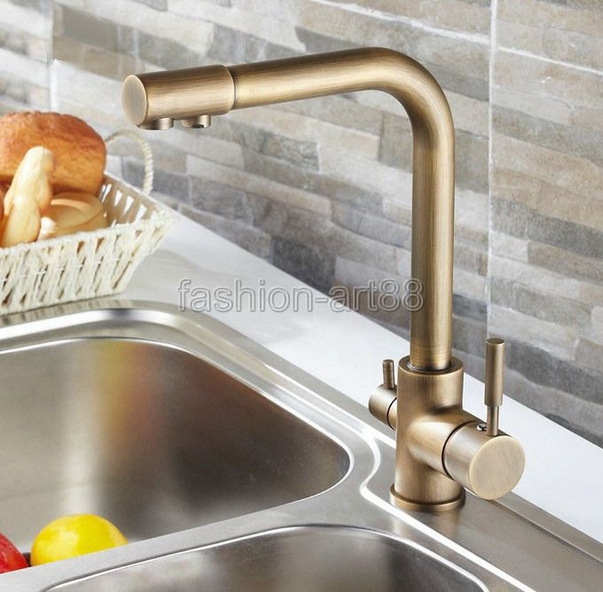 Фотография Luxury Vintage Retro Antique Brass two Levers 3-Way Water Filter Tap Kitchen Sink Faucet Mixer asf010