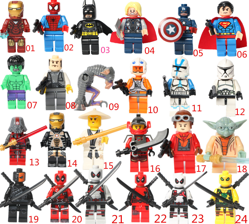 24 styles New Mini block deadpool building block action figures Deadpool super hero Iron man Batman Spider-man Superman Thor(China (Mainland))