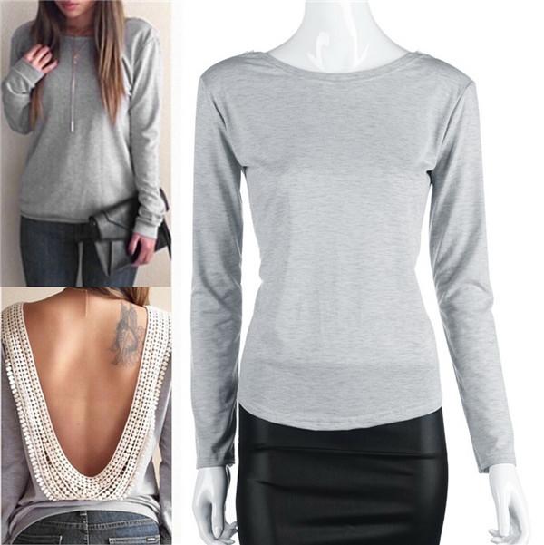 1 пк женщины сексуальный полые сплошной приталенный длинный рукав с низким