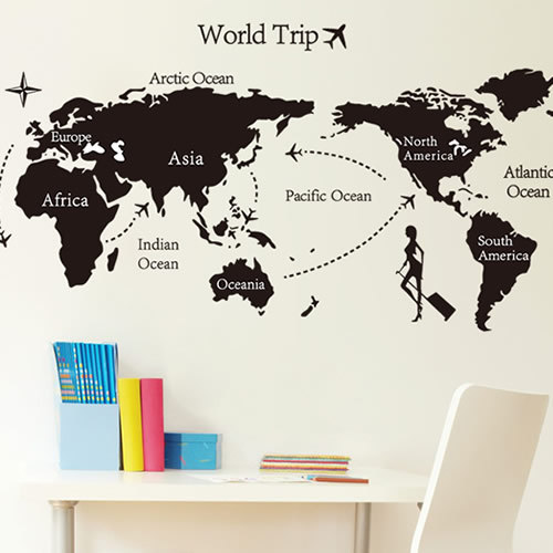 World map letters profile black simple design removable for Black and white world map wall mural