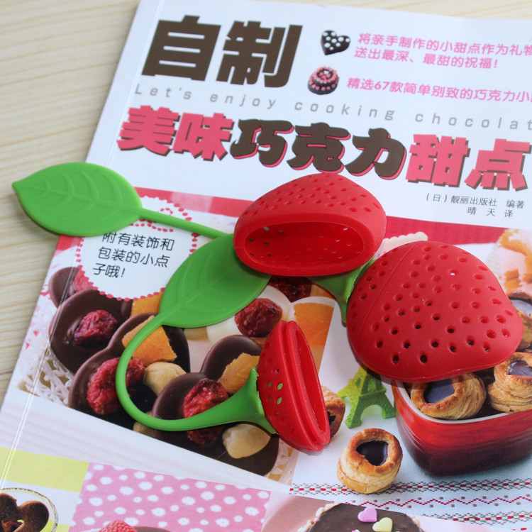 Tea Leaf Strainer Reuseable Red Lovely Silicone Strawberry Tea Bag Ball Stick Loose Herbal Spice Infuser Filter Tea Tool Novelty  Tea Leaf Strainer Reuseable Red Lovely Silicone Strawberry Tea Bag Ball Stick Loose Herbal Spice Infuser Filter Tea Tool Novelty