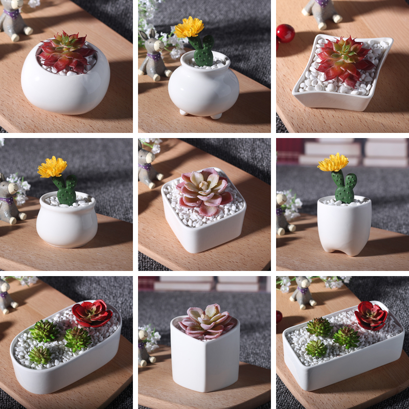 10 style ceramic flower pots wholesale white mini flower pots planters small solid color succulent plant pot on sale(China (Mainland))
