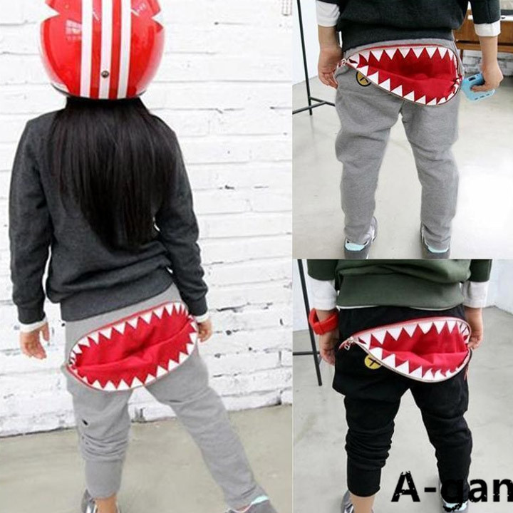 2015 Spring New Kids Boys & Gilrs Sport Pants Boys Mouth teeth Pants Loose Casual Cotton shark Pants Sports Trousers Harem Pants(China (Mainland))