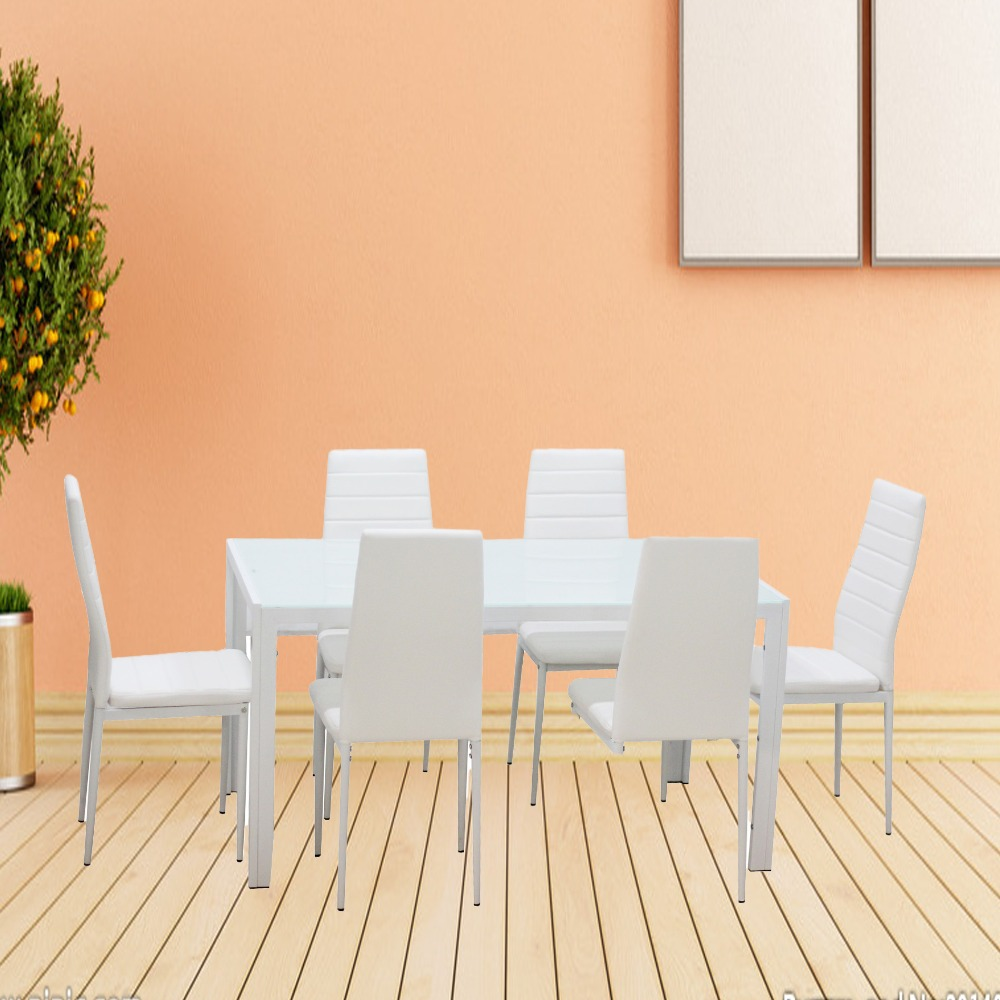 1 set elegant white 7 piece home dining kitchen furniture for Kitchen set elegan