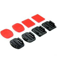 Free shipping Kit 4pcs Helmet Accessories Flat& Curved Adhesive Mount For Gopro Hero 1/2/3 New Top Quality