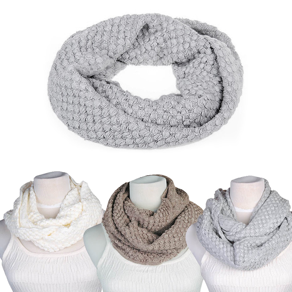New Gorgeous Women Winterbreak Warm 2 Circle Cable Knit Cowl Neck Long Scarf Shawl Free shipping