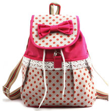 Women Girl Lace Bow Cute Dots backpack satchel tote Campus Bookbag(China (Mainland))