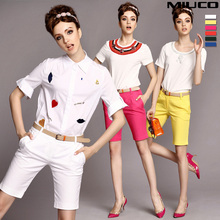 2014 female trousers candy color slim mid waist 5 pants solid color casual capris female belt(China (Mainland))