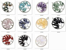 Tree of life Wire Wrapped Chip Semi precious stone Necklace Pendant ,Silver Brass finding with chip gem stone 12pcs/lot(China (Mainland))
