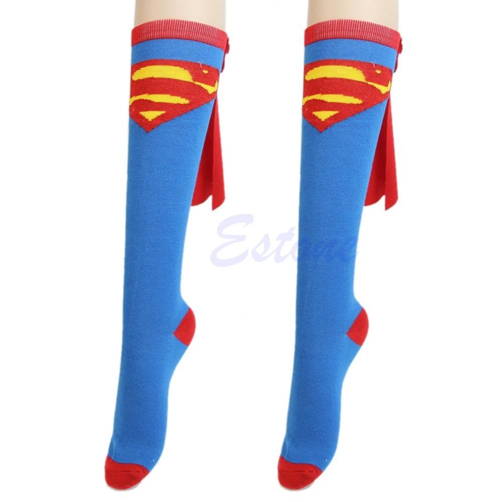 Super Hero Superman Batman Knee High With Cape Soccer Socks Cosplay Costume Free Shipping(China (Mainland))