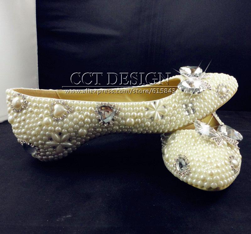 ivory pearl rhinestone wedding shoes beaded wedding shoes bridesmaid flat bridal shoe handmade women flat shoes