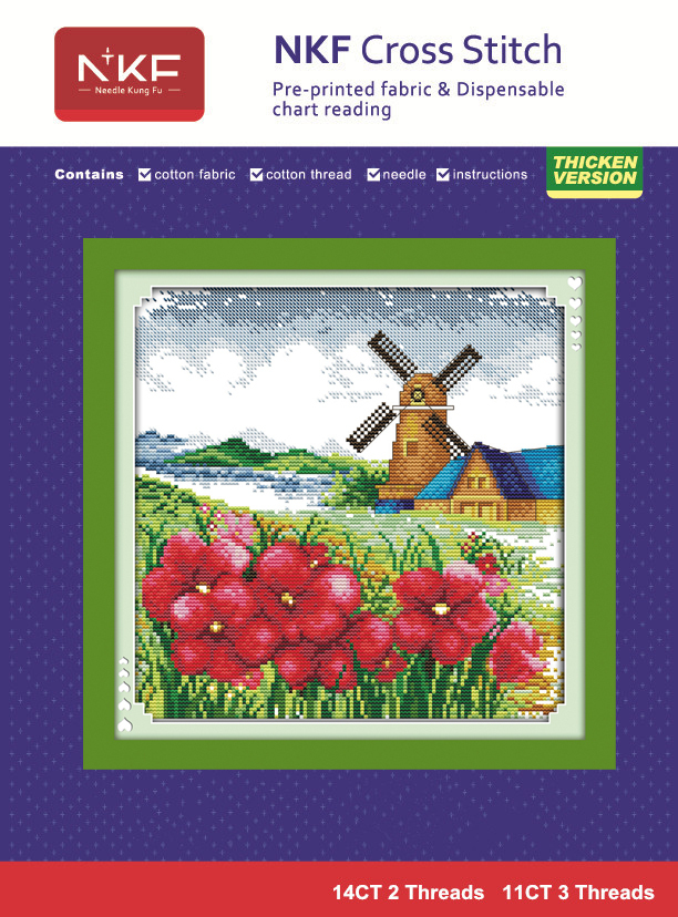 Korean scenery style 11CT&14CT unfinished embroidery cross stitch kit DIY innovation items needlework - Four seasons Korean view(China (Mainland))