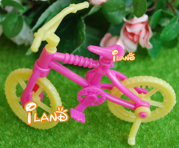 iland Dollhouse Miniature Vehicle Plastic Child's bicycle pink & yellow 3.3x2.7 inch Free Shipping Classic toys