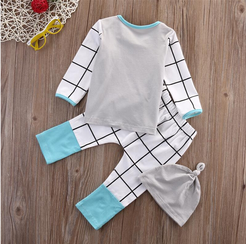 Newborn Kids Baby Boys Girls Outfits Clothes Set T-shirt Tops Casual Long Sleeve Pants Legging Hat Baby Clothing 3PCS Set Infant
