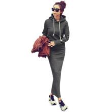 2015 Autumn Winter Women Black Gray Sweater Dress Warm Fur Fleece Hoodies Long Sleeve Slim Maxi Long Dresses Vestidos Femininas(China (Mainland))