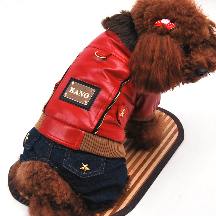 Pet Dog Clothes The punk Leather Jacket+ Jeans Pet Dog Winter Clothes Dog Jumpsuitm Red Black Free shipping(China (Mainland))