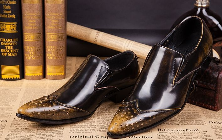 ITALY Style! Men's Leather Shoes pointed casual shoes elegant mens dress genuine leather Business, EU38-46, Free Ship!