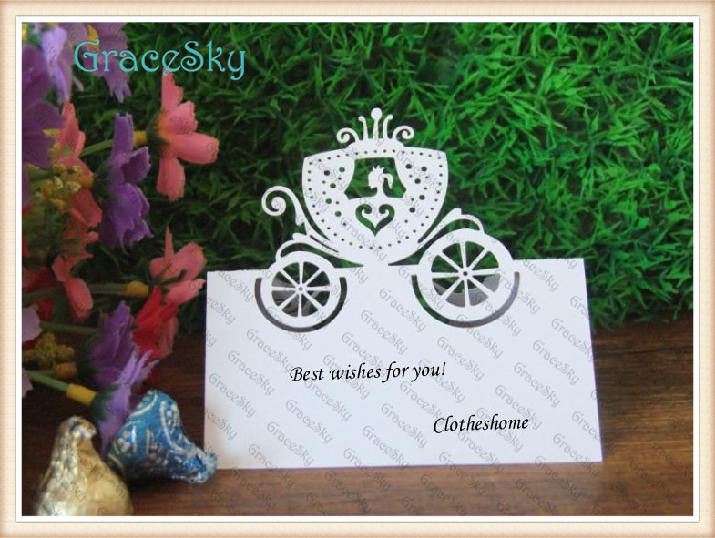 New Design Party Invitation Decorations Table Cards, Elegant Seat Place Card Princess Carriage Shaped Die Cut Paper Party Favor(China (Mainland))