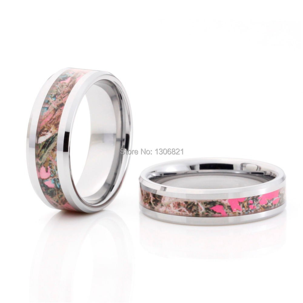 Aliexpresscom buy 2014 new style pink tree camo inlay for Tungsten camo wedding rings