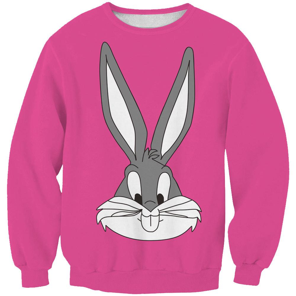 Cute classic cartoon character Bugs Bunny 3d sweatshirt women/men casual crewneck sweat shirt sport tops pullovers 4 color S-XXL(China (Mainland))