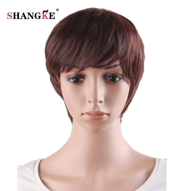 SHANGKE Short Brown Wigs For Black Women Natural Womens Hair Wigs Heat Resistant Synthetic Hairstyles 2 Colors Available(China (Mainland))