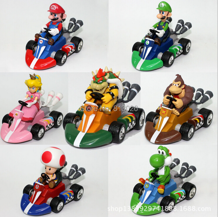 7pcs/set Super Mario Bros Karts Pull Back Cars figures PVC Collection figures toys for christmas gift brinquedos ToyO0055