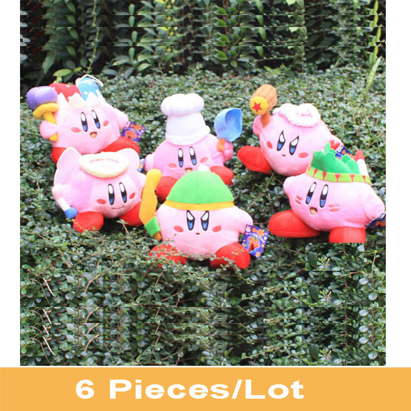 6pcs/set Super Mario STAR Kirby Keychain Popopo Key Rings 13-20cm Plush Doll Lovely Kids Gift with Tracking Information In Stock(China (Mainland))
