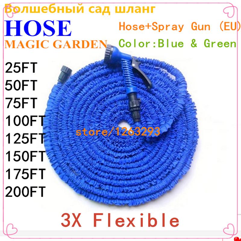 Hot Flexible Magic Expandable Garden hose reels 25-200FT Car watering Pipe Plastic Garden Water Hose+Spray Gun (EU) Blue & Green(China (Mainland))