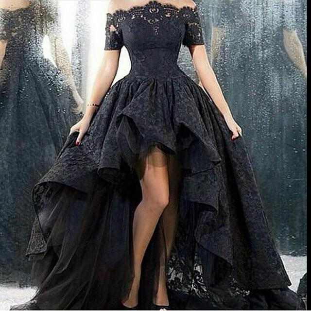Свадебное платье короткий передний долго назад без бретелек-линии длина пола черное кружево свадебное платье