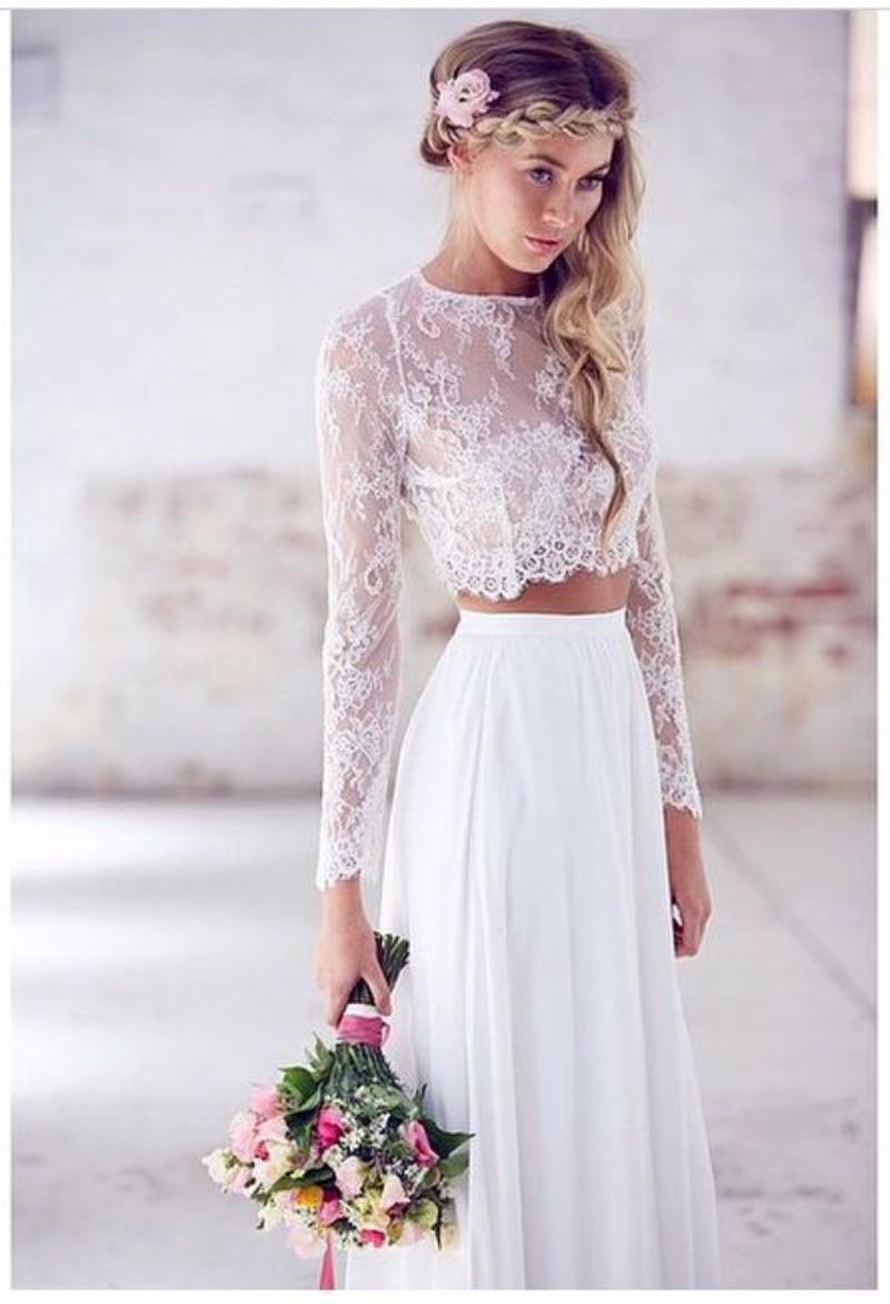 Beach wedding dresses two piece 2015 jewel neck a line for Two piece wedding dresses