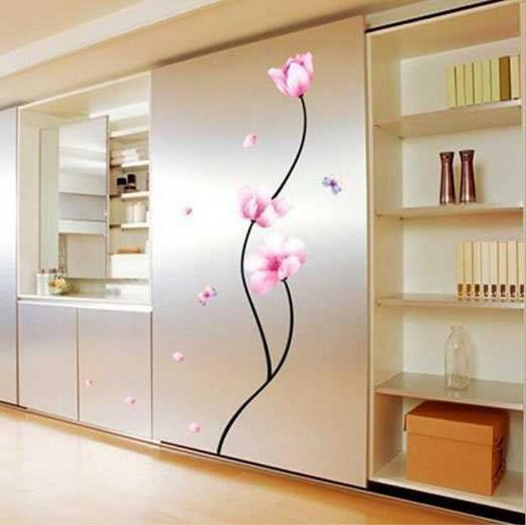 DIY Pink Flower Lovely Window Hand Drawing Wall Stickers Living Room Bedroom Poster Vinyl Decoration Decal Home Decor Wallpaper(China (Mainland))