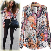 Fashion 2016 Women Clothes Long Sleeve Floral Women Blouses Turn-down Collar Chiffon Blouse Tops Vintage Blusas Shirt Women