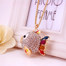 2016 love fashion creative full rhinestone necklace pendant fish lovers accessories all-match sweater chain promotional gifts(China (Mainland))