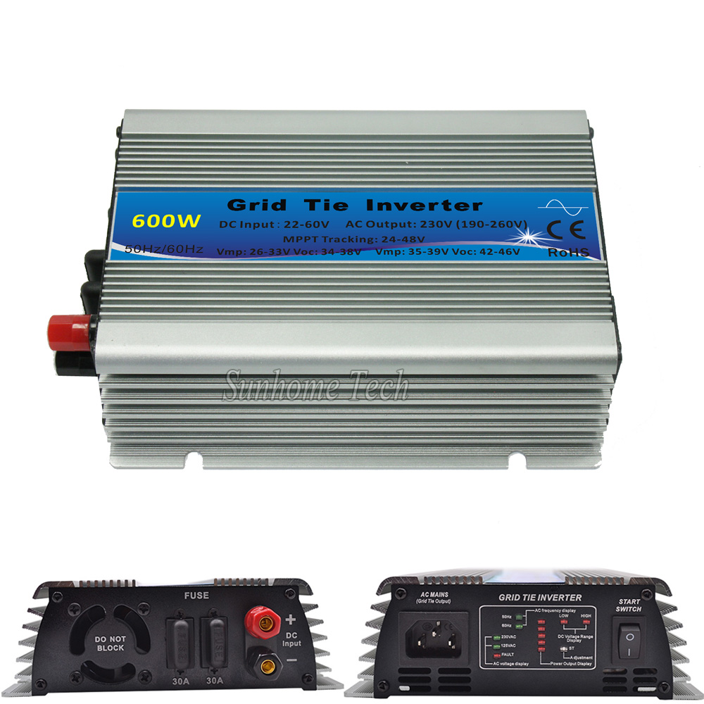 600W pure sine wave mppt micro grid tie inverter,22-60V DCto 230V AC for solar pv panels(China (Mainland))