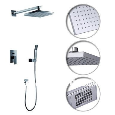 "Фотография Wall Mount Concealed Rainfall Shower Set Faucet with 8"" Shower head + Hand Shower Chrome Finish"