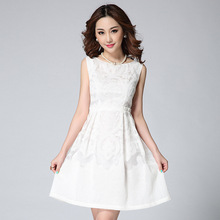 2015 Summer Fashion High Quality Embroidery Gauze Dresses Vest Skater Dress Casual Girls Party dress