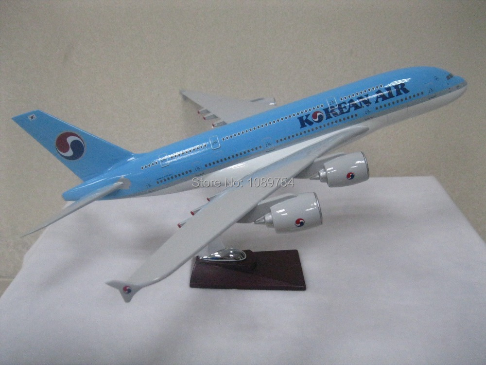 45CM KOREAN AIRLINES AIRBUS A380 ,45CM-47CM Resin airplane models free shipping(China (Mainland))