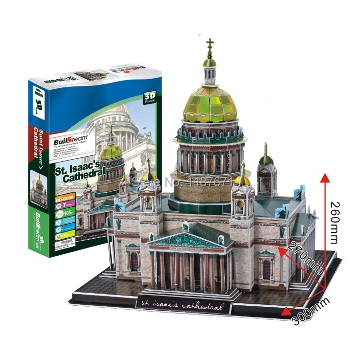 Paper Model Diy St Isaac's Cathedral Enlighten Blocks Construction Educational playmobil Toys scale models Sets brinquedos