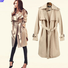 European Style Trench Coat For Women 2015 Fashion Trends Women Spring Coat With Belt Cloak Plus Size Slim Outwear High Quality