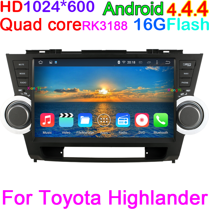 """Quad Core HD 1024*600 Pixels10.2"""" Car PC Android 4.4.4 Car DVD For Toyota Highlander Kluger 2008-2012 With Stereo Radio OBD DV(China (Mainland))"""