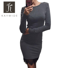 Kaywide Lace Patchwork Women Dress O Neck Casual Bodycon Party dresses With Tassel Plus Size Long Sleeve Ladis Dress Vestidos(China (Mainland))