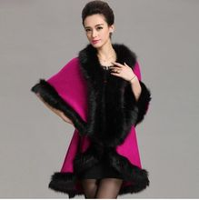 2015 New Fashion Long Wool Cashmere Faux Fox Fur Coat Cardigan Women Poncho Knitted Sweater Women Scarves(China (Mainland))