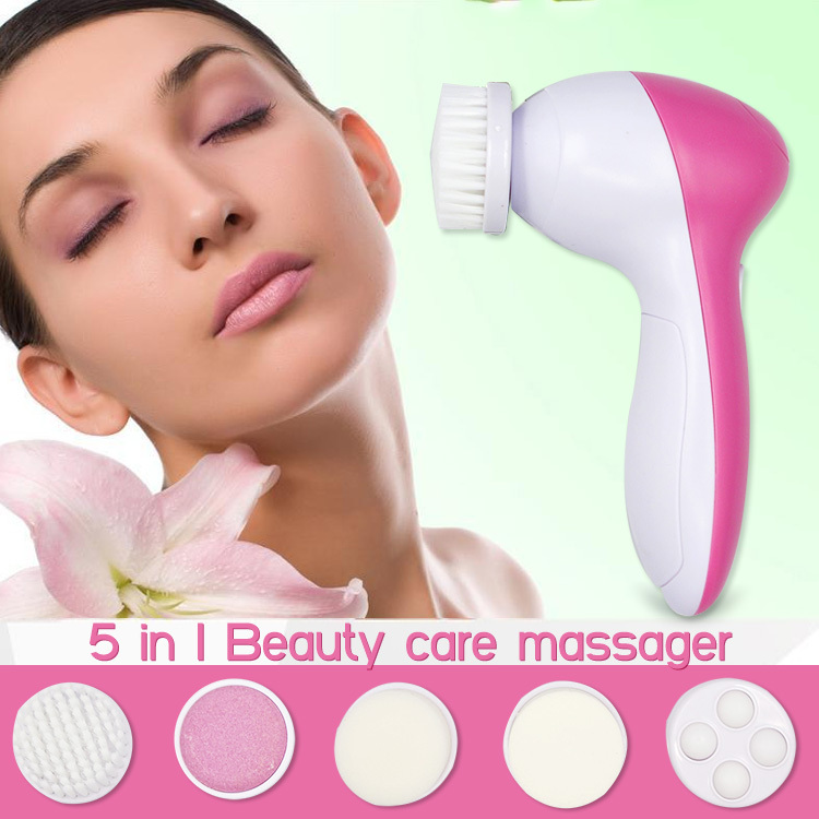 Free Shipping 5 in1 Multifunction Electric Body 5-1 Face massager Facial Deep Cleansing Relief Brush Spa Skin Care Massage Wash(China (Mainland))