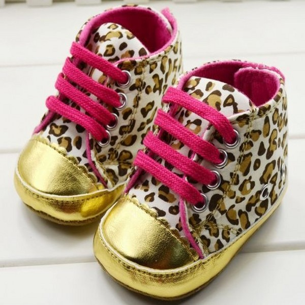 Cute Baby Girl Infant Toddler Leopard Gold Crib Shoes First Walker Sneaker Size 11 12 13 - -Sunflower- store