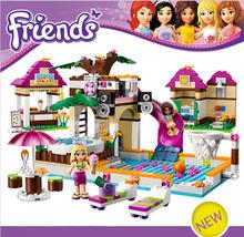 422pcs Heartlake Swimming Pool Park Building Blocks Set axi Friends Figures DIY Brinquedos Bricks Toys for Girls