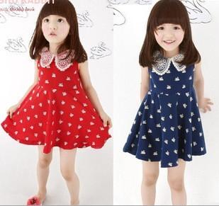 New girls doll collar sleeveless dress children dress children dress Korean velvet swan pattern summer 2013 2-6Y